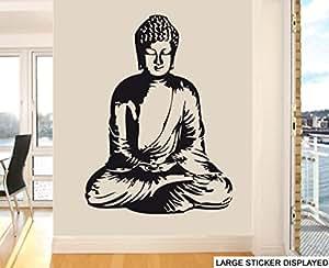 Adhesivo mural (118 x 86cm, tamaño grande), diseño de Buda, color negro