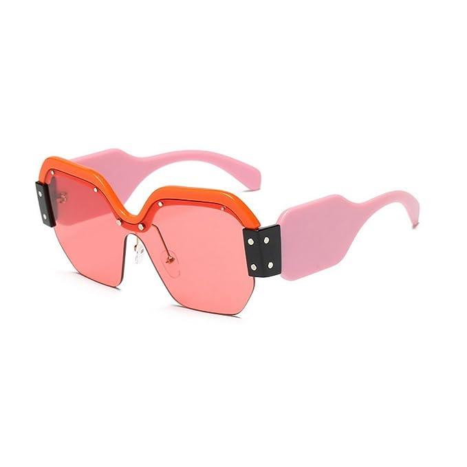 ea7b306637 MINCL Colorful Oversized Rectangular Sunglasses Half Rimless High-Point  Eyewear (orange-red
