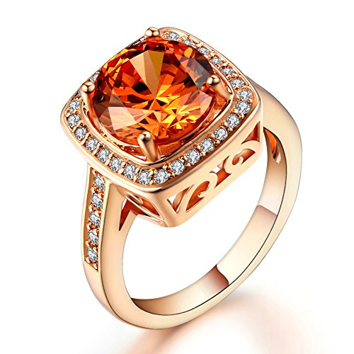 Ritzy Glam Cubic Zirconia Rose Gold Plated Ring Stunning Crystal Yellow November Birthstone Rose Gold Halo Setting with 28 CZ Stones Nickel-Free, Anti-Allergy, Round Cut Fashion Jewelry for Women