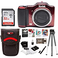 Kodak 16MP Friendly Zoom FZ152 with 3 LCD, Red (FZ152-RD) 32GB Bundle with Software