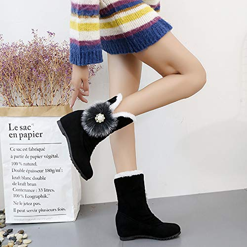 5c5fdbbeb6785 Hunzed Women Shoes Plus Fluffy Ball Wedge Suede Female Short Boots Warm  Snow Boots (Black, 6)