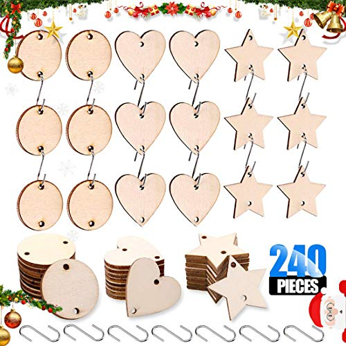 Glarks 240-Pieces 1.5 Inch Wooden Star/Circles/Heart Tags with Holes and Stainless Steel S Shaped Hook Connectors for Birthday Boards, Valentine, Decorations and DIY Crafts