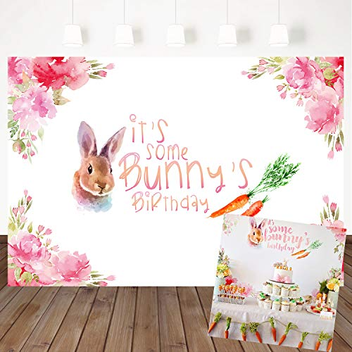 Mehofoto 1st Birthday Backdrop Bunny Themed Photography Background 7x5ft Children Baby Birthday Party Banner Decoration Watercolor Flower Carrot Vinyl Photo Background]()