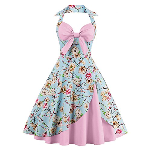Vintage Halter Cocktail Dress 1950S Retro Swing Homecoming Dresses Light Pink Floral 3XL ()