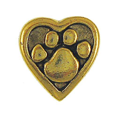Heart and Paw Gold Lapel Pin - 1 Count (Paw Puppy Pin)