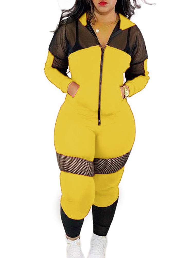 Womens Casual Patchwork 2 Piece Outfits Zip-up Jacket High Waist Pencil Pants Tight Outfit Sweatsuit Set Yellow L by NVXIYYA
