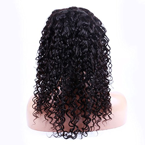 Virgin Brazilian Hair Human Hair Wigs Soft Curly Front Lace Wig for Black Women Long Lace Front Wig Natural Color (12inch)