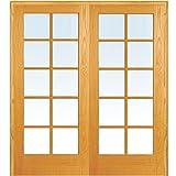 National Door Company ZZ19946BA Unfinished Pine Wood 10 Lite Clear Glass, Both Active Prehung Interior Double Door, 60'' x 80''