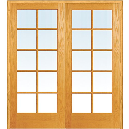 y ZA19945BA Unfinished Pine Wood 10 Lite Clear Glass, Both Active Prehung Interior Double Door, 72