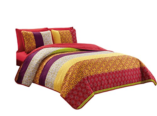 Chezmoi Collection Nova 6-Piece Floral Medallion Bedspread Coverlet Set with Fitted Sheet, Queen ()