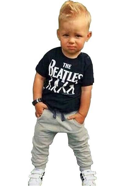 1087f50fa Bebé Niños 2 Piezas Algodón de los Beatles T Shirt + Pants Set Trajes Ropa   Amazon.es  Ropa y accesorios