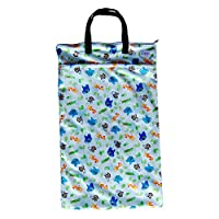 Large Hanging Wet Dry Bag for Baby Cloth Diapers or Laundry (Safari)
