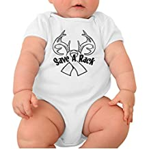 Juliuse Marthar Organic Cotton Save A Rack Breast Cancer Awareness Baby Onesie Short Sleeve Shirt Outfits for Newborn Infant