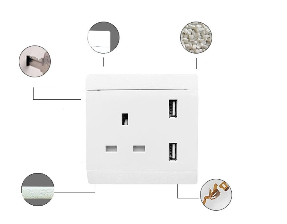 Dual USB Port Electric Wall Socket Charger Dock AC Power Receptacle Outlets Phones Cradle Gessppo by Gessppo (Image #4)