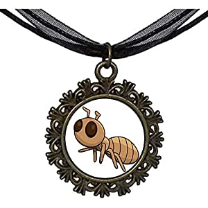 Chicforest Bronze Retro Style Cartoon Lovely Ant Round With Flower Lace Pendant