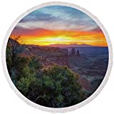 Pixels Round Beach Towel With Tassels featuring ''Sunrise Over Canyonlands'' by Darren White