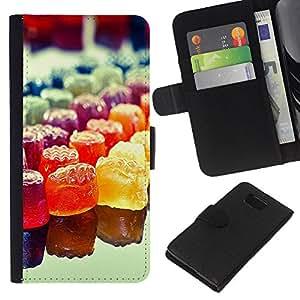 LECELL--Cuero de la tarjeta la carpeta del tirón Smartphone Slots Protección Holder For Samsung ALPHA G850 -- Colorido del caramelo del arco iris --