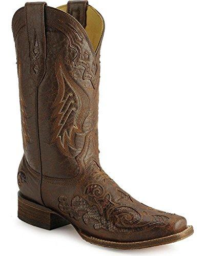 Corral Kvinna Vintage Python Inlägg Cowgirl Boot Fyrkantig Tå Brun