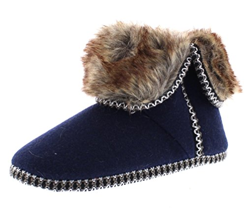 ISAAC MIZRAHI Women's Tala Soft Plush Embroidered Knit House Slipper Bootie with Fur Cuff Navy L 9 (Plush Booties)