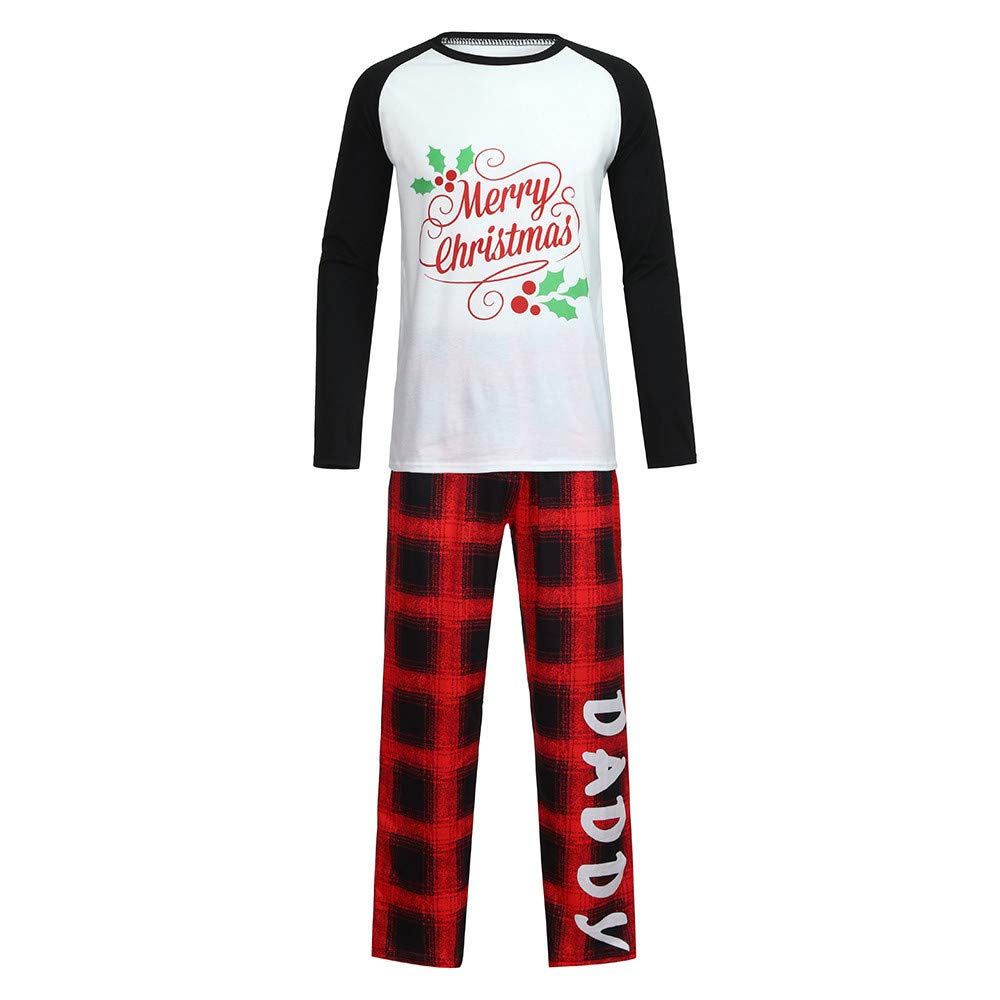 YunZyun 2 Piece Men Christmas Plaid Pajama Sets Jammies Matching Family Winter Long Sleeve Cartoon Fashion Novetly Warm Cotton Pjs Sleepwear for Boys Dad(S-XXL) (Black, S)