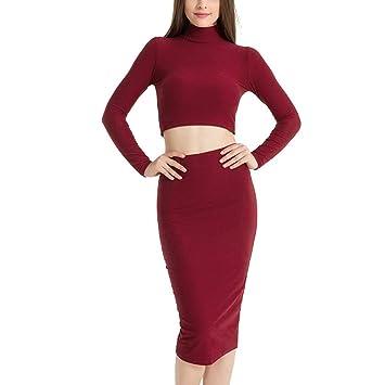 Baiomawzh vestidos mujer Cuello redondo Cuello alto Manga larga ...
