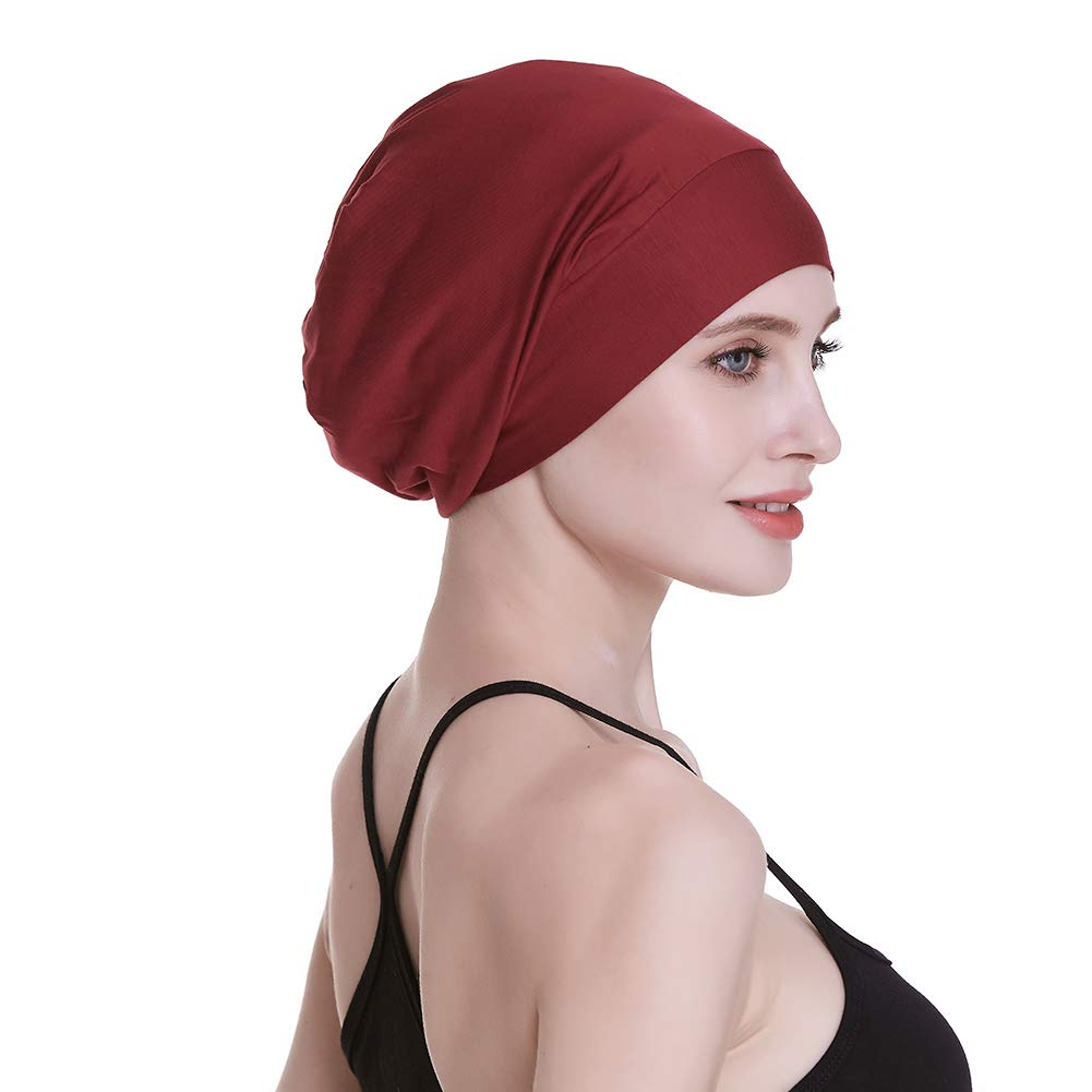 FocusCare Silk Satin Lined Sleep Cap,Inner 19MM 100/% Bulberry Silk Outer Bamboo Viscose Nature Breathable for Hair