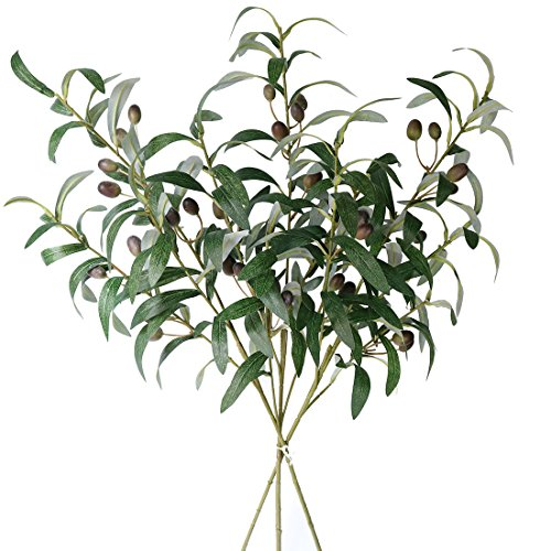 Jasming 28 Artificial Olive Branches Fake Fruits Leaves Green Plants for Office Crafts Room Decoration,Pack of 3