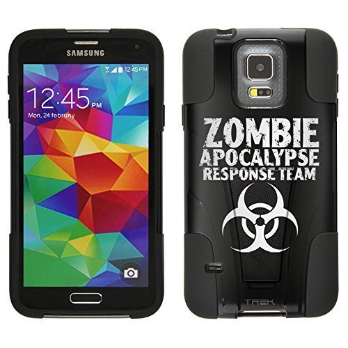 Samsung Galaxy S5 Hybrid Case Zombie Apocalypse Response Team Black 2 Piece Style Silicone Case Cover with Stand for Samsung Galaxy S5