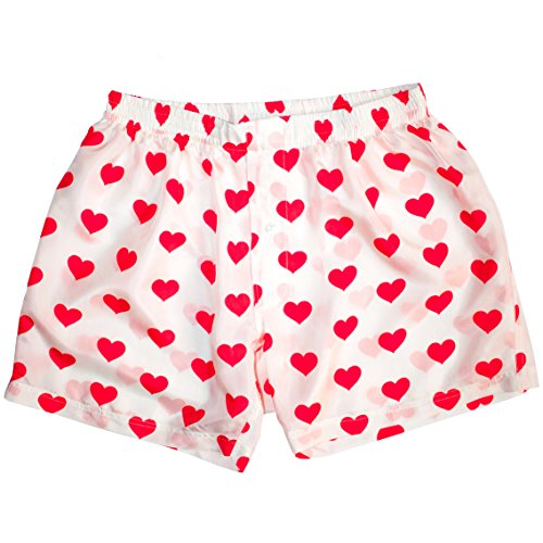 White Silk Heart Boxers 2.0 by Royal Silk - Love You Valentine Special - Men's S (30-32