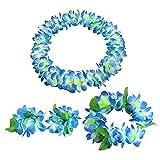 Hawaii Wreath Lei Party Favors 4pcs Blue