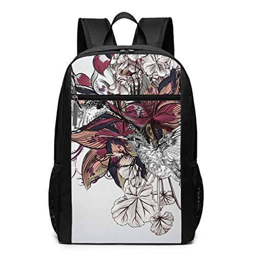 Cooldazzle Hummingbird Lily Watercolor Chinese Wind Women Durability Large Capacity Multifunction Adjustable Outdoor Daypacks