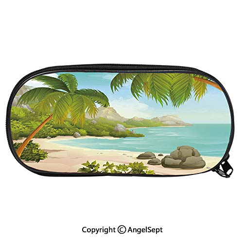 (Pencil CaseExotic Beach with Coconut Palm Trees and Rocks Journey Ocean Coastal Design for Pen Holder with Zipper Children Back to School Big Capacity Pencil Pouch Student Sturdy Polyester Stationery)