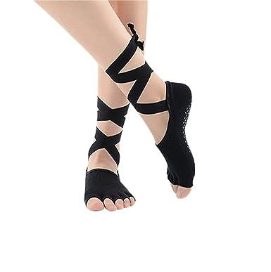 Amazon.com: Mujer Chica Yoga danza calcetines negro corte ...