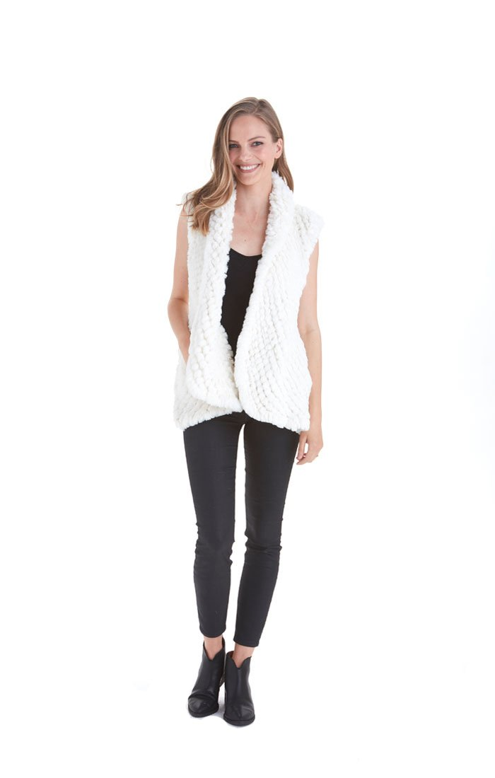 Love Token Ali Faux Fur Vest - LT96-33 (Small, Ivory)