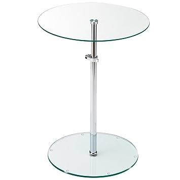 Beistelltisch glas höhenverstellbar  Tisch Klar Glas Platte rund Wohn Zimmer Beistell Ablage Fläche ...