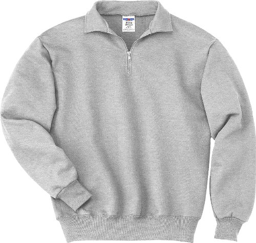 JERZEES Mens SUPER SWEATS 1/4-Zip Sweatshirt with Cadet Collar, 2XL, Ash