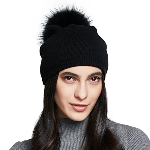 Cotton Lined Cap (YINONIY Women's Winter Cotton Knitted Beanie Cap with Pom Pom - Black)