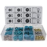 Faucet Washer Kit LASCO 02-1150 Faucet Bibb Flat Pignose Washer and Screw Assortment Kit, 12-Compartment Plastic Box with Labels