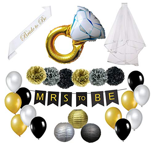 Bachelorette Party Decorations Set. Classy Black, Gold and Silver Bridal Shower Decorations Favors and Supplies Kit- Veil, Sash, Mrs. to Be -