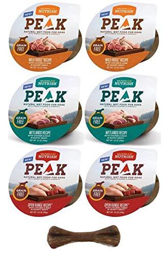 Rachel Ray Nutrish Peak Natural Grain Free Wet Dog Food Variety Pack - 3 Flavor Bundle, 3.5 Oz Each - Pack of 6 Plus Dog Bone & Eco Friendly Poop Bags (8 Items Total)