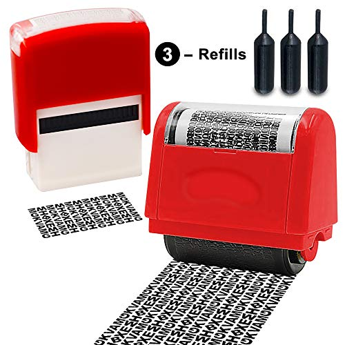 Identity Theft Prevention Stamps with Shinny Dark Ink for Completely ID Security Protection Roller Stamp - Unlimited Re-Inking 1.5 inch. Wide, 2 pcs Set with 3 Refills, Red ()
