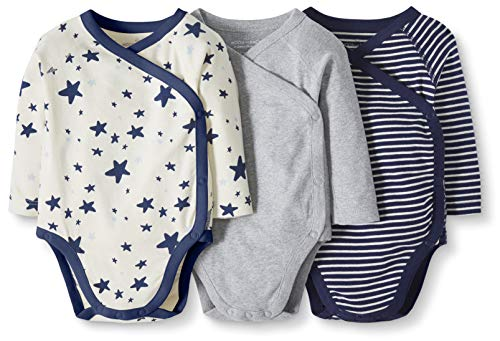 Moon and Back by Hanna Andersson Baby 3-Pack Organic Cotton Long Sleeve Side Snap Bodysuit, Navy, 3-6 months from Moon and Back by Hanna Andersson