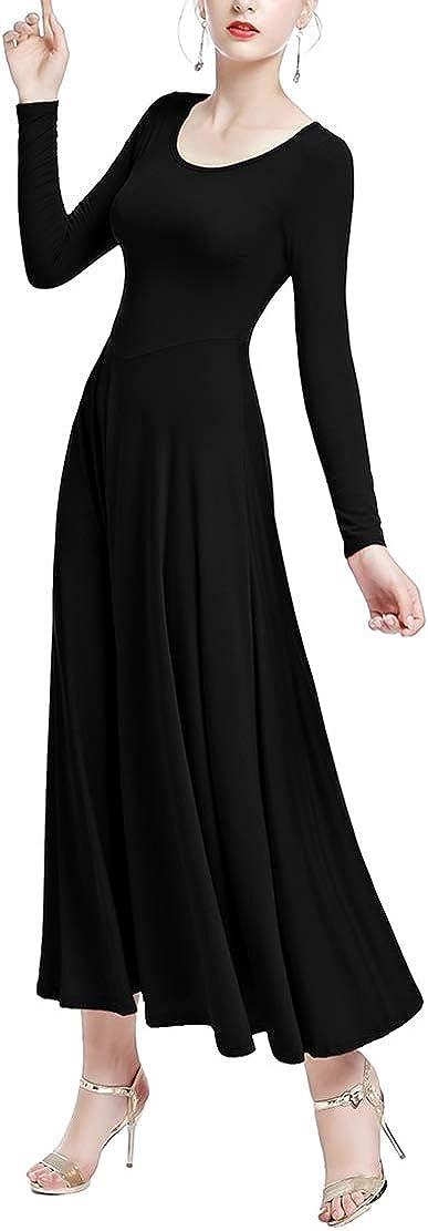 Femme Fille Robe Liturgique Couleur Unie /à Manches Longues Justaucorps de Gymnastique Robe de Ballet Classique Dance Costume de Danse
