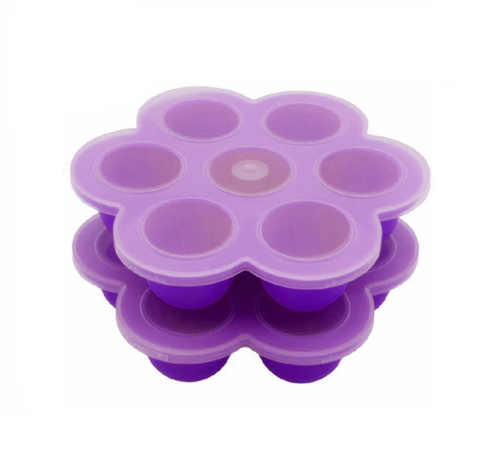 2Packs Silicone Egg Bites Molds for Instant Pot Accessories, Fits Instant Pot 5,6,8 qt Pressure Cooker, 7Cups Baby Food Storage Freezer Trays with Clip-On Lid (Purple - 7Cups)