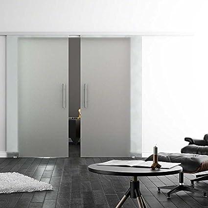 Protector de pantalla de cristal para puerta corredera de neopreno blando de colour negro, de seda-satén, con soft-close-stop 2-lámpara de techo, 2 veces 2050 x 775 mm con barra de agarre: Amazon.es: