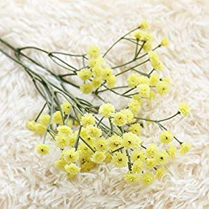 GSD2FF 90 Heads Artificial Flowers False Baby's Gypsophila Wedding Decoration Birthday DIY Photo Props Flower Heads Branch,Yellow 23