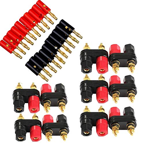 KingBra 30PCS Audio Speaker Wire Cable Banana Plugs Screw Type Connector 4mm Lantern tip and Terminal Binding Post Power Amplifier Dual 2-Way Banana Plug Jack Gold Plated (Terminal Screw Lantern)