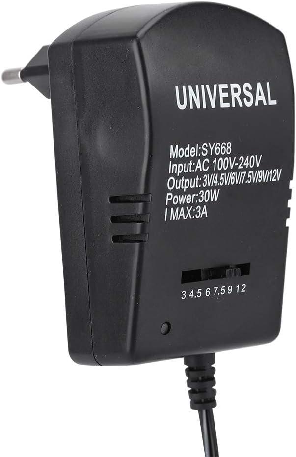Tonysa Adaptador de Corriente Universal, Adaptador de Corriente de Voltaje Ajustable DC 30W 3V-12V, con 6 Conectores,Ampliamente Utilizado