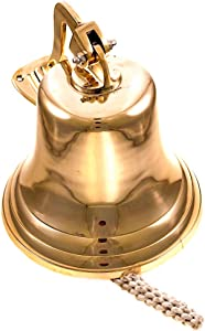"""Nautical Specials BR 1845-VC Wall Hanging Rope Polished Dinner Tip Indoor/Outdoor Nautical Bells Variety with Mounting Hardware Bracket Ship Boat Maritime Decor (10"""" Brass)"""