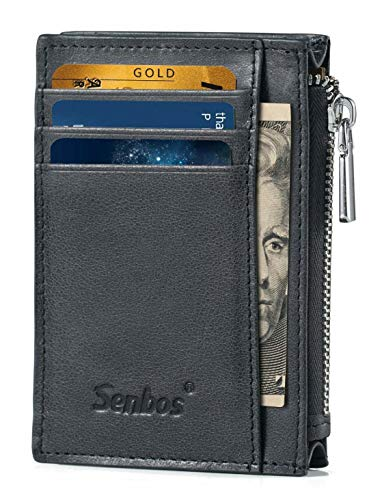 - Senbos Mens Wallet RFID Credit Card Holder Front Pocket Minimalist Genuine Cowhide Leather Wallets for Men & Women for Father's Day Gift